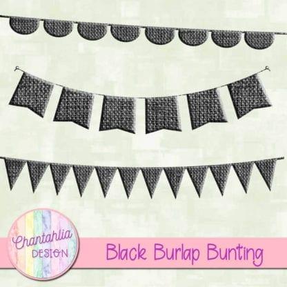 free black burlap bunting