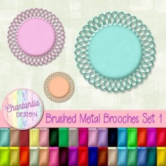 free brushed metal brooches design elements