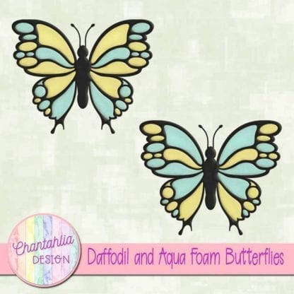 free daffodil and aqua foam butterflies