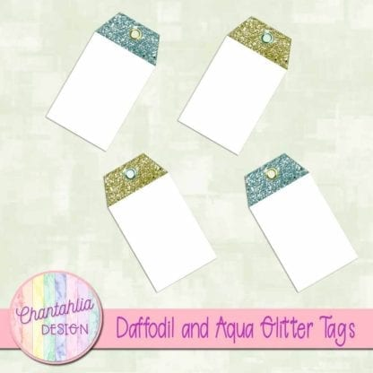 free daffodil and aqua glitter tags