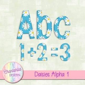 free daisies scrapbook alpha