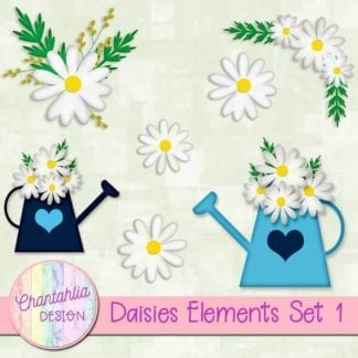 free daisies scrapbook design elements