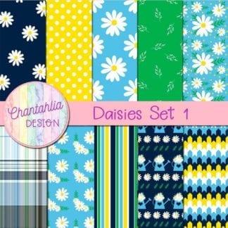 free daisies digital papers