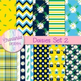 free daisies digital papers