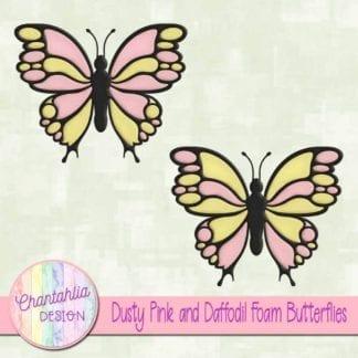 free dusty pink and daffodil foam butterflies