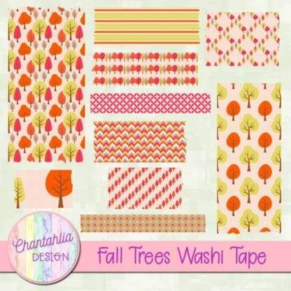 free fall trees digital washi tape