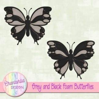 free grey and black foam butterflies