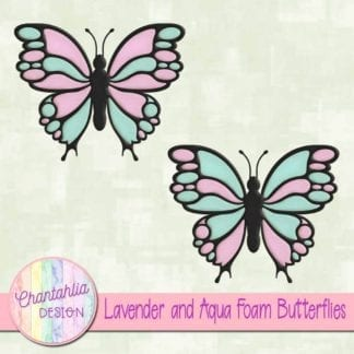 free lavender and aqua foam butterflies