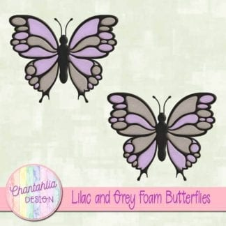 free lilac and grey foam butterflies