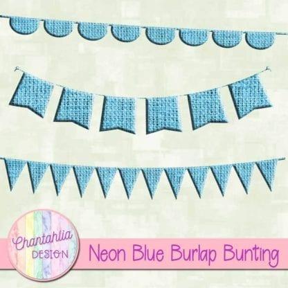 free neon blue burlap bunting