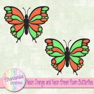 free neon orange and neon green foam butterflie