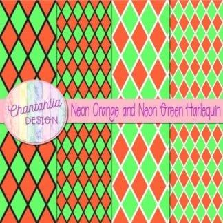 free neon orange and neon green harlequin digital papers