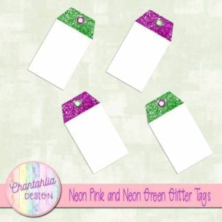 neon pink and neon green glitter tags