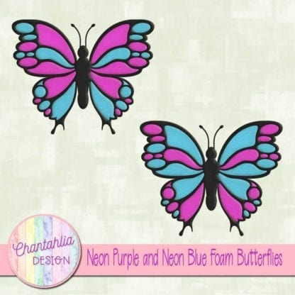 free neon purple and neon blue foam butterflies