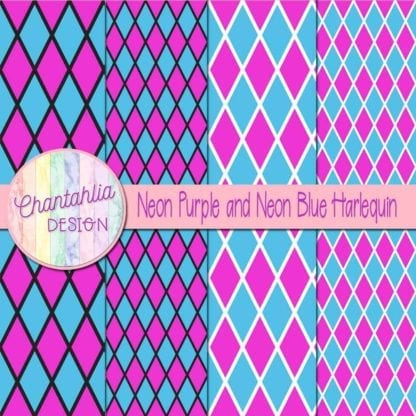 free neon purple and neon blue harlequin digital papers