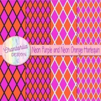 free neon purple and neon orange harlequin digital papers