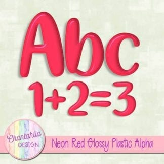 free neon red glossy plastic alpha