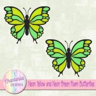 free neon yellow and neon green foam butterflies