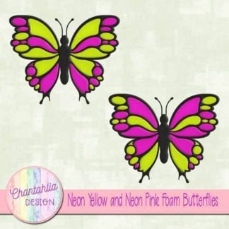 free neon yellow and neon pink foam butterflies