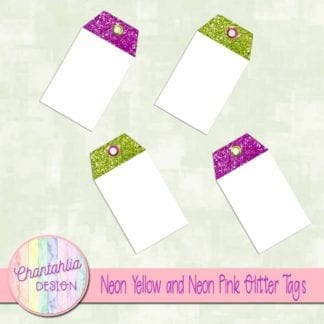 neon yellow and neon pink glitter tags