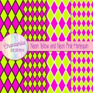 free neon yellow and neon pink harlequin digital papers