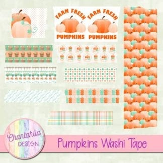 free pumpkins digital washi tape