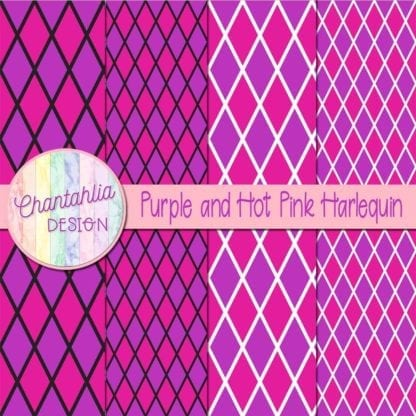 free purple and hot pink harlequin digital papers