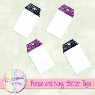 purple and navy glitter tags