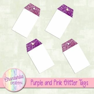 purple and pink glitter tags