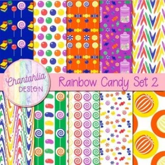 free rainbow candy digital papers
