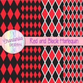 free red and black harlequin digital papers