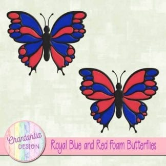 free royal blue and red foam butterflies