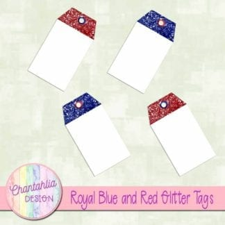 royal blue and red glitter tags