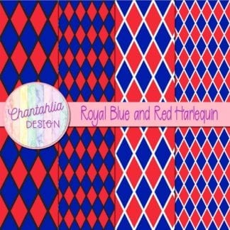 free royal blue and red harlequin digital papers