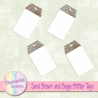 sand brown and beige glitter tags