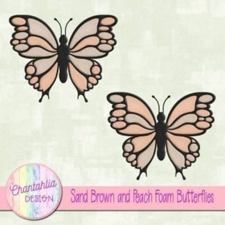 free sand brown and peach foam butterflies
