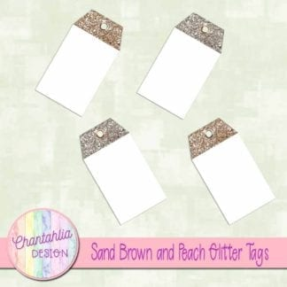 sand brown and peach glitter tags