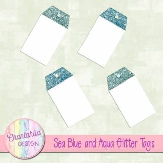 sea blue and aqua glitter tags