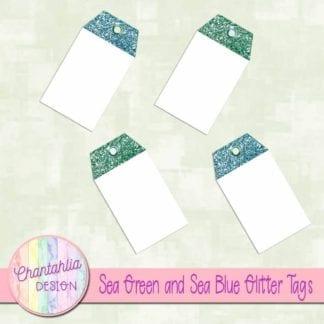 sea green and sea blue glitter tags