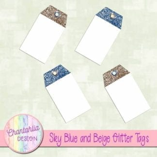 sky blue and beige glitter tags