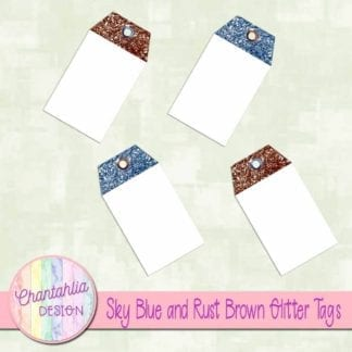 sky blue and rust brown glitter tags