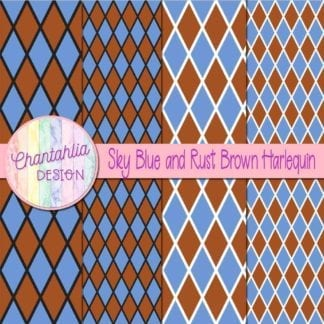 free sky blue and rust brown harlequin digital papers