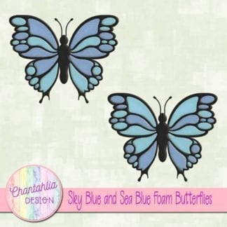 free sky blue and sea blue foam butterflies