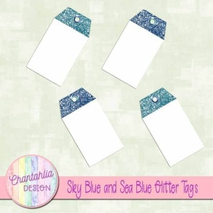sky blue and sea blue glitter tags