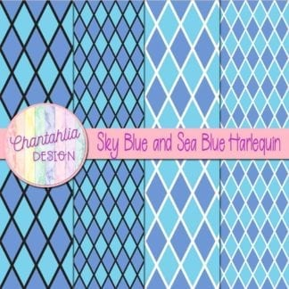 free sky blue and sea blue harlequin digital papers