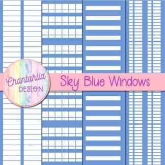 free sky blue windows digital papers