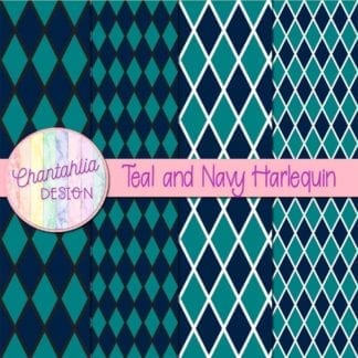 free teal and navy harlequin digital papers