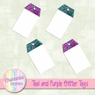 teal and purple glitter tags