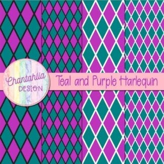 free teal and purple harlequin digital papers