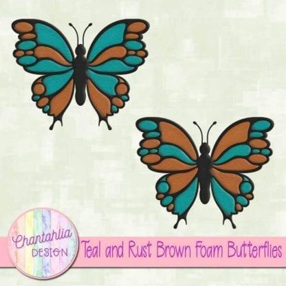 free teal and rust brown foam butterflies